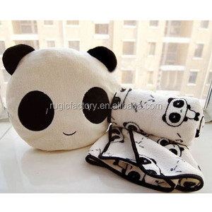 High Quality Cartoon Design Panda Pillow With A Warm Blanket