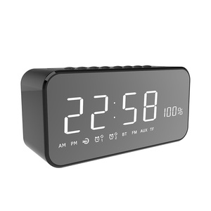Easiny MX-22 smartphone wireless speaker with FM radio bedroom decor desk mirror large screen LED luxury digital alarm clock