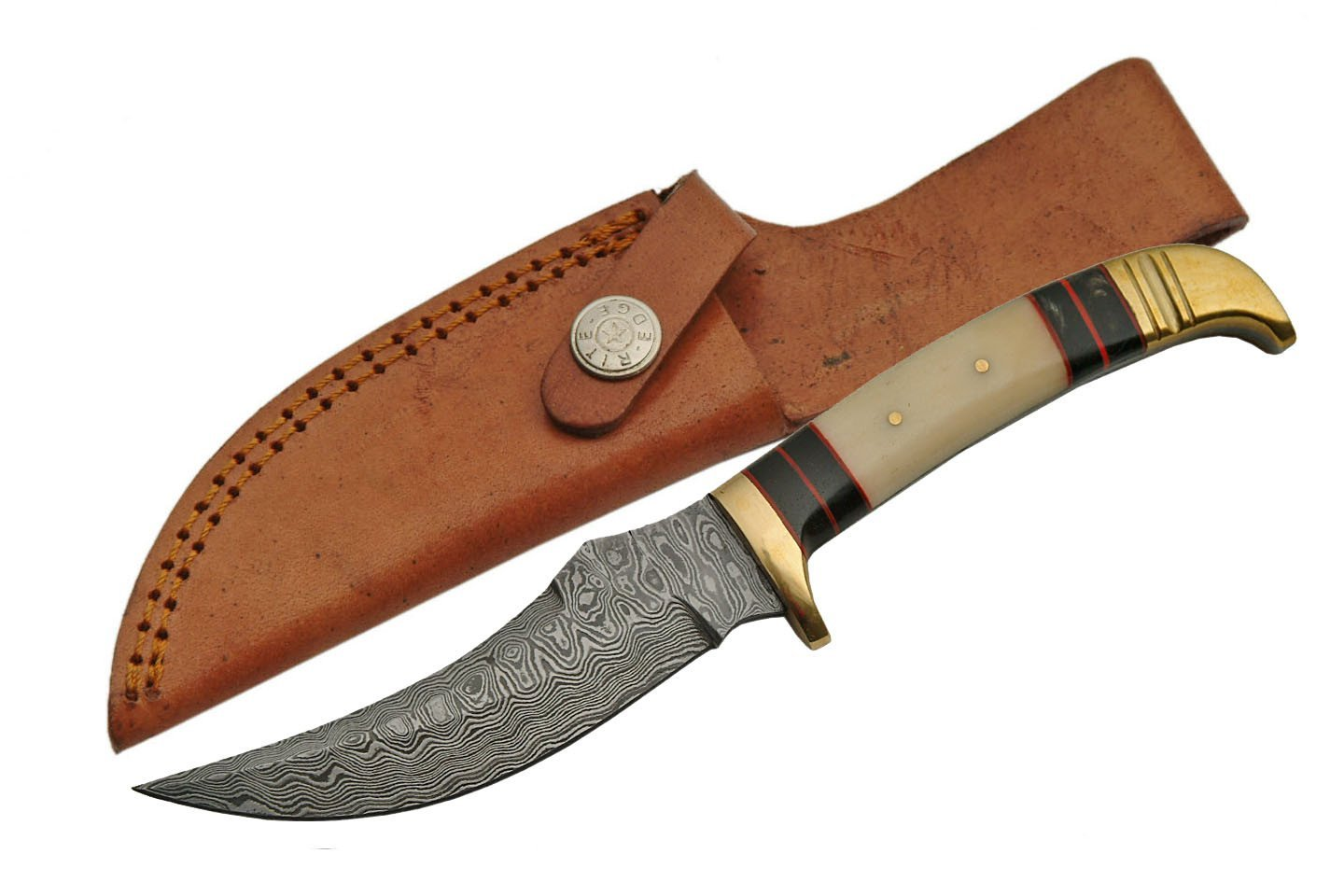 SZCO Supplies Bone/Brass Damascus Steel Skinning Knife