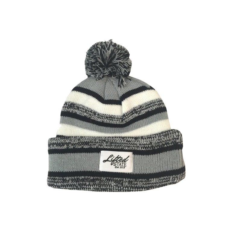 597ce51c wholesale cheap custom made 100 acrylic pom knitted beanie with woven label