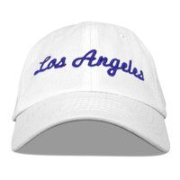 6 panel los angeles embroidered soft front panel cotton pre curved baseball cap