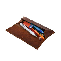Factory handmade vintage genuine leather roll on pencil case large pen bag