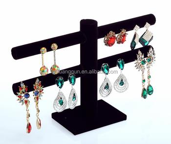 40 Holes Black Velvet Earrings Jewelry Display Stand Rack Holder For Straight Hook
