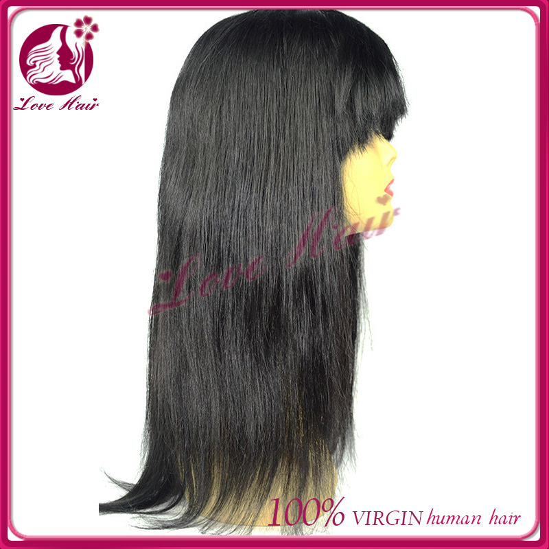 Comfort hair accessories lace front wig with heavy fringe world-class color#1 jet black good concept brazilian hair