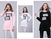 100 cotton custom printing long sleeves O neck loose letter print women longline t shirt