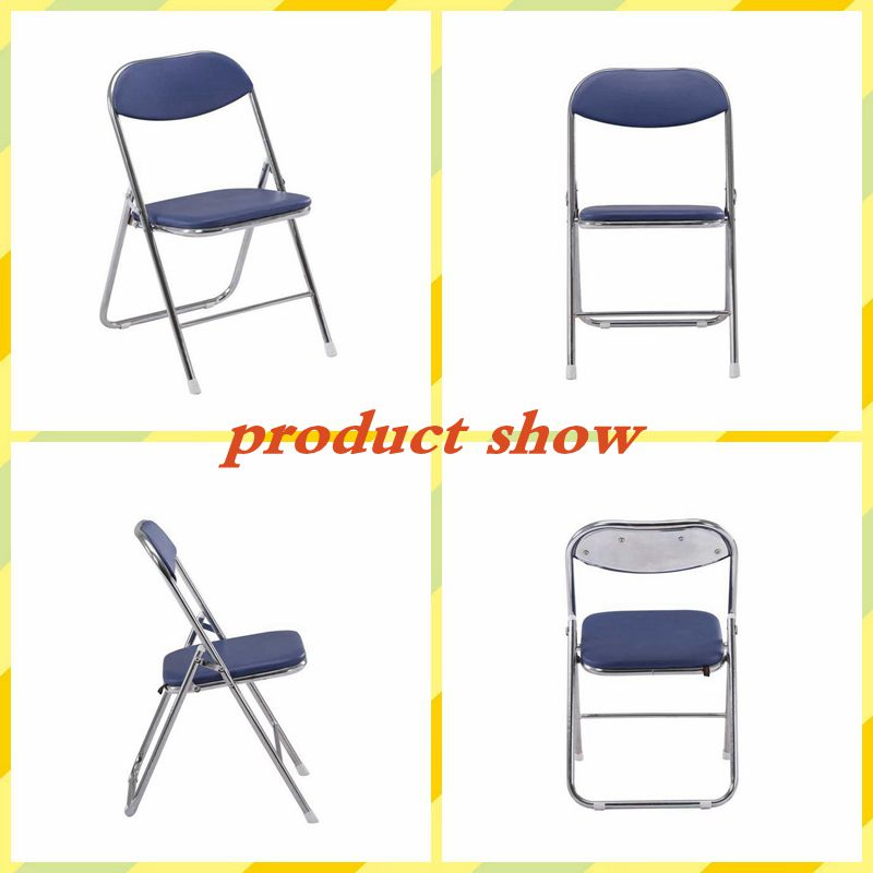 Free sample wholesale leather folding metal chair modern shape folding chair garden cheap folding chair for outdoor event