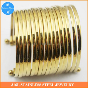 Stainless Steel A Lots Of Wire Bracelets Bangles 18K Gold Women's Fashion jewellery