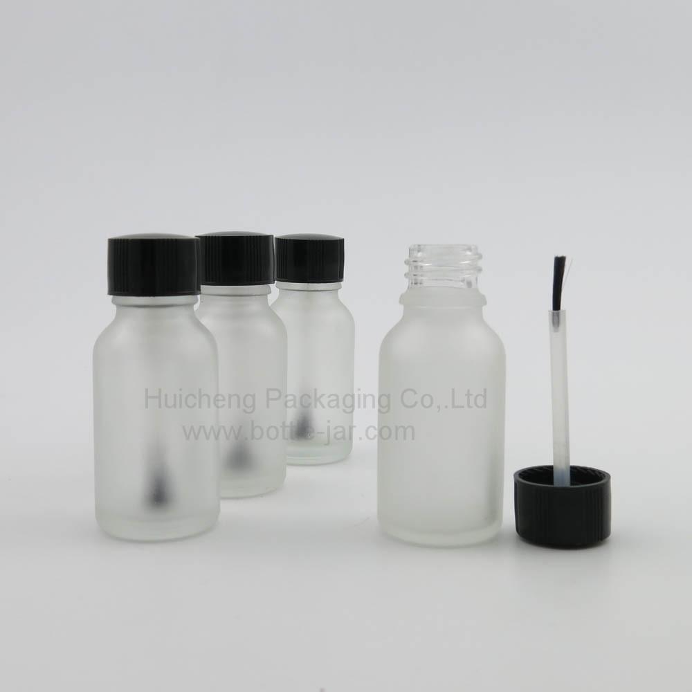 Putih Buram Kaca Kosong Botol Cat Kuku 15 Ml Dengan Topi Dan Sikat Poles