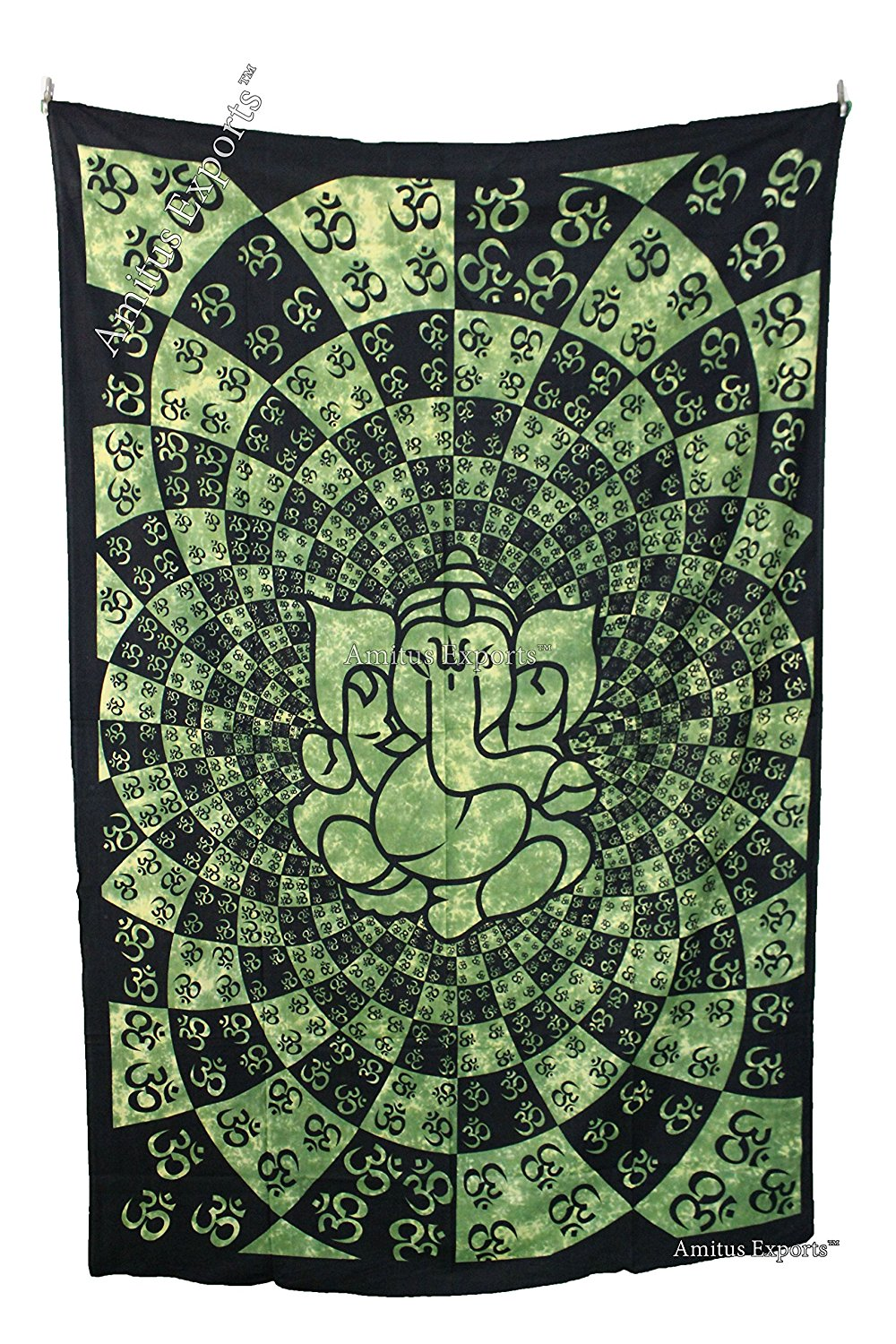 """Amitus Exports (TM) 1 X Ganesh Om 80""""X53"""" Approx. Inches Green Tie Dye Color Cotton Fabric Multi-Purpose Handmade Tapestry Hippy Indian Mandala Throws Bohemian Tapestries"""