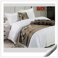 Hotel Bedding Linen Supplier 100% Cotton Plain White Bed Sheets Set