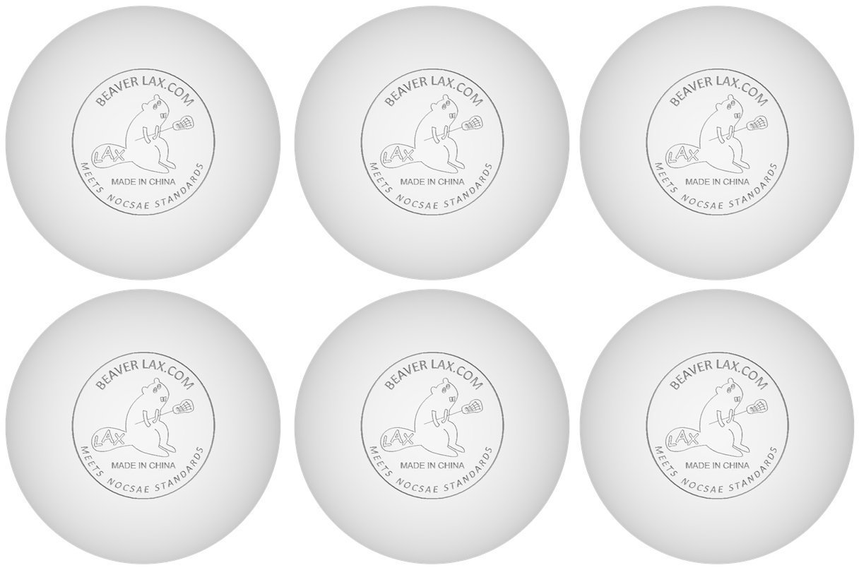 Beaver Balls, Set of 6 White NOCSAE Certified, 100% Solid Rubber Lacrosse Balls, Deep Tissue Myofascial Release & Trigger Point Massage From Beaver LAX