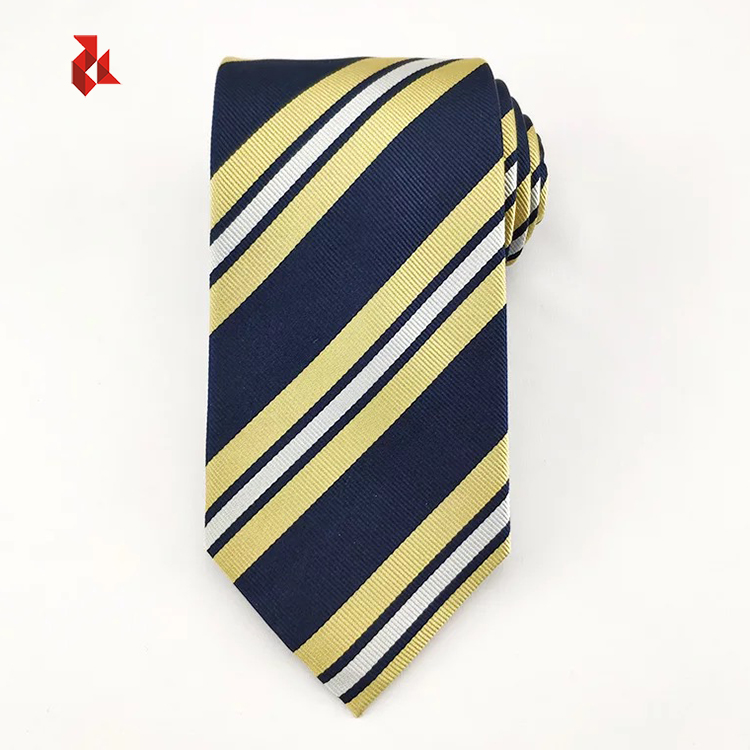 Italian Classic Yellow Striped Ties Silk Woven Mens Neck Tie