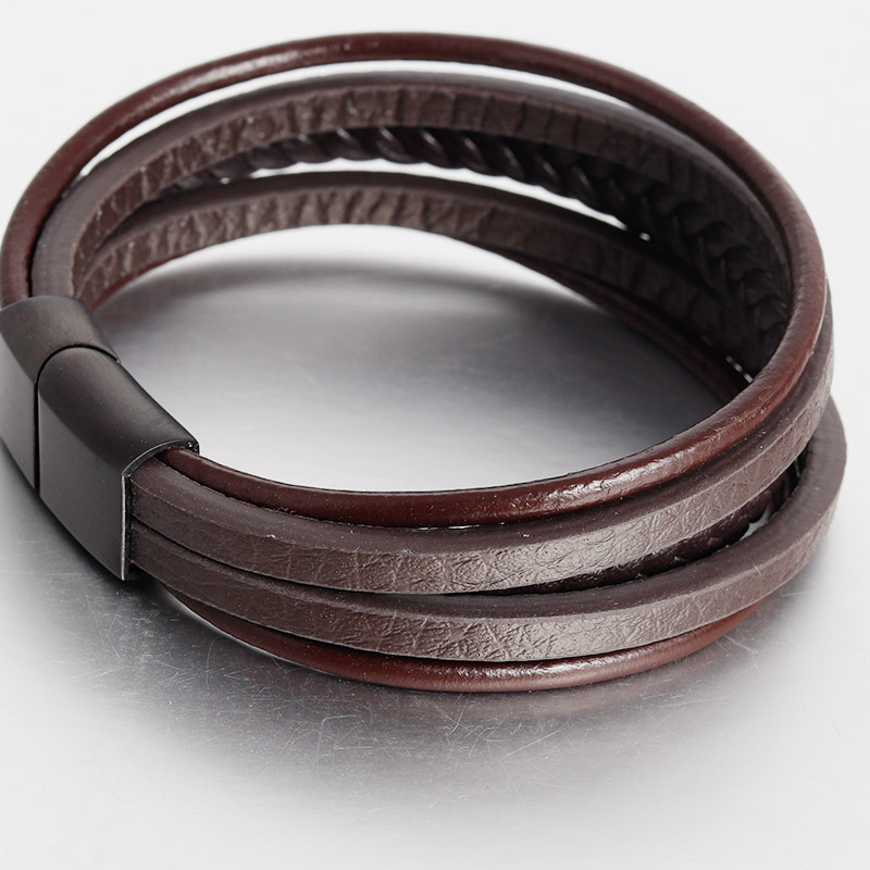 Custom Handmade Men Friendship Bangle  Jewelry Multilayer Woven Black Leather Wrap Magnetic Clasp Cuff Bracelet