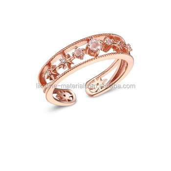 Italy Style Gemstone Rose Gold Rings Designs For Ladies Pictures
