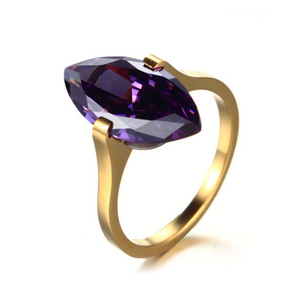 Stainless Steel 24K Gold Plated Purple Gem One Ellipse Stone Ring Designs