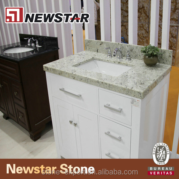 Newstar Hotel Prefab Wall Mount Classic Solid Wood Bathroom Cabinet Set Suite Kit Furniture Design For Vanity Tops