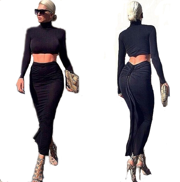 2 Piece Set Women Crop Top and Skirt Set Black Crop Top and High Waist Skirt Set Long Maxi Pencil Bandage Skirt & Tops Shirt Set