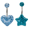 Crystal Shinning Gems Heart Paved Navel Piercing Bar Body Jewelry