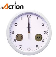 round shape 10 inch Radio controlled outdoor wall clock with LCD display temperature and humidity