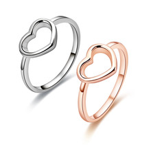 Nieuwe Mode roestvrij staal Rose Goud Kleur Heart Shaped Wedding <span class=keywords><strong>Ring</strong></span> voor Vrouwen