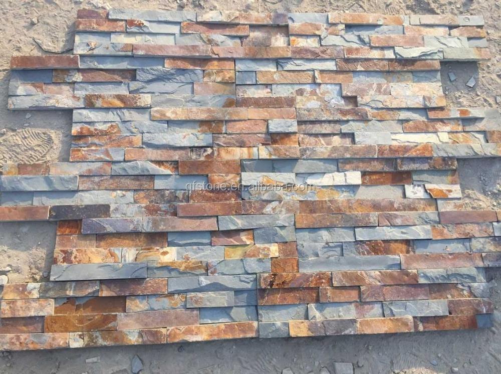 Barato oxidado cultura muro de piedra natural de piedra - Piedra natural pizarra ...