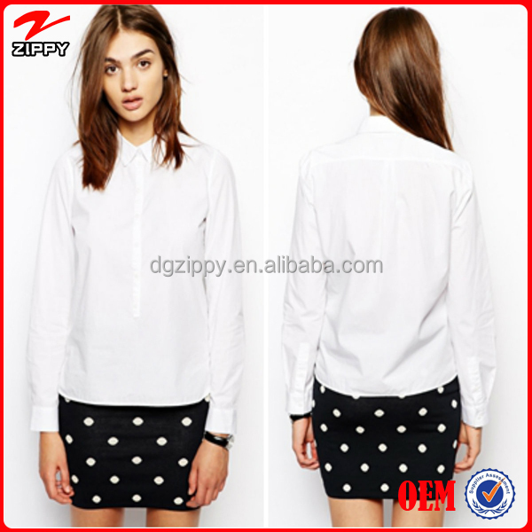 2016 New ladies white shirt ladies office wear blouse shirt formal shirt design for women