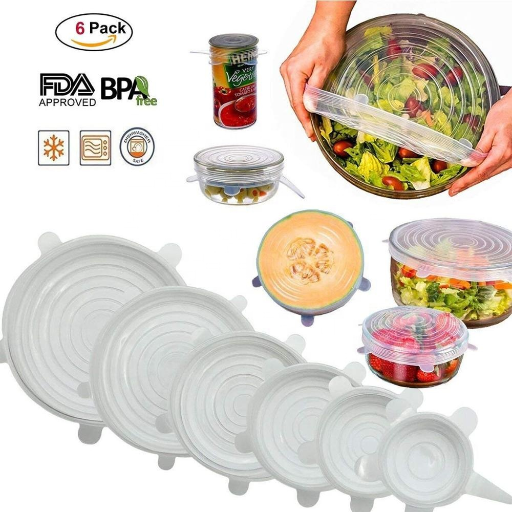 Dapur Silikon Stretch Lids 6 Ukuran Set Reusable Food Wraps Seal Cover