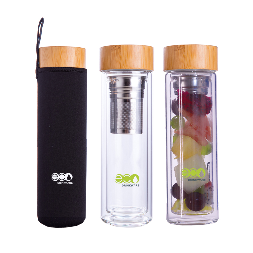 No minimum New unique high-end double wall insulated glass tea fruit infuser water <strong>bottle</strong> with bamboo top