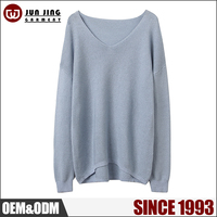 Breathable 100% Mercerized Cotton knitting v neck wool sweaters for lady