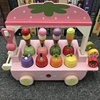 Wholesale Pretend Play Baby Mini Sweet Wooden Ice Cream Truck Toy Strawberry Ice Cream Carts Kitchen Toys