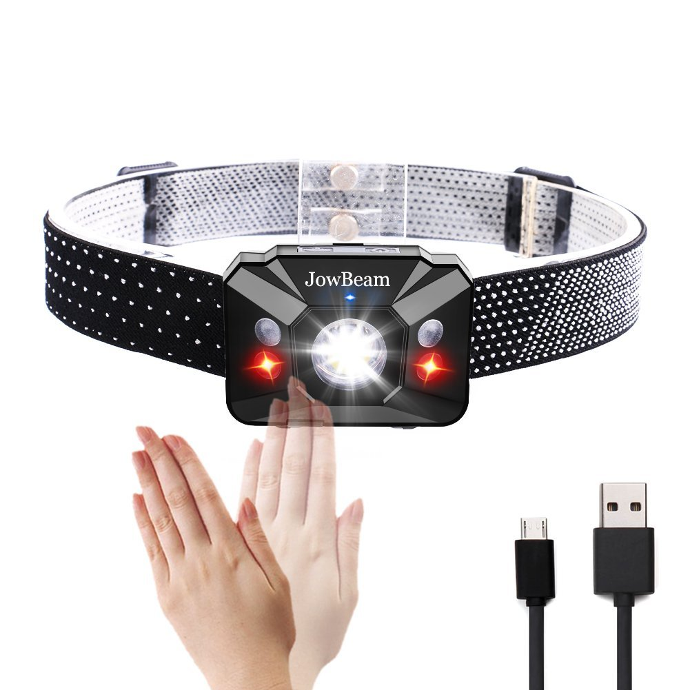 120 Lumens USB Rechargeable HeadLamp Hand Wave Switch On/Off White / Red LED Head Lamp Flashlight 80 meters beam distance Headlight Waterproof W07-GS