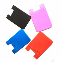 Strong Adhesive Card Pocket ID Card Holders Universal Size High Quality Silicone Smart Phone Pouch Stationery