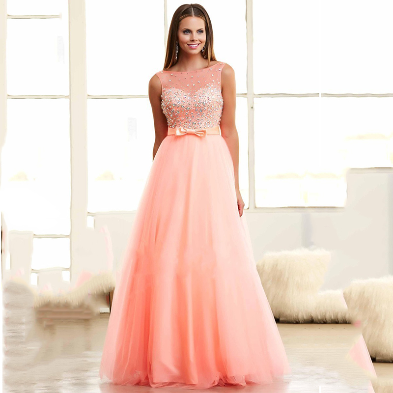 6a26d837f27 Get Quotations · Sweet Party Dresses A line Tulle Puffy Floor Length Bowtie  Peach Prom Dresses 2016 Crystals Rhinestones