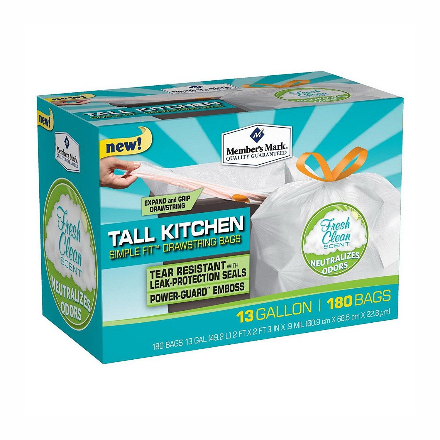 Buy Tall Kitchen Trash Bags 13 Gallon 180 Count Kitchen Tall texture ...