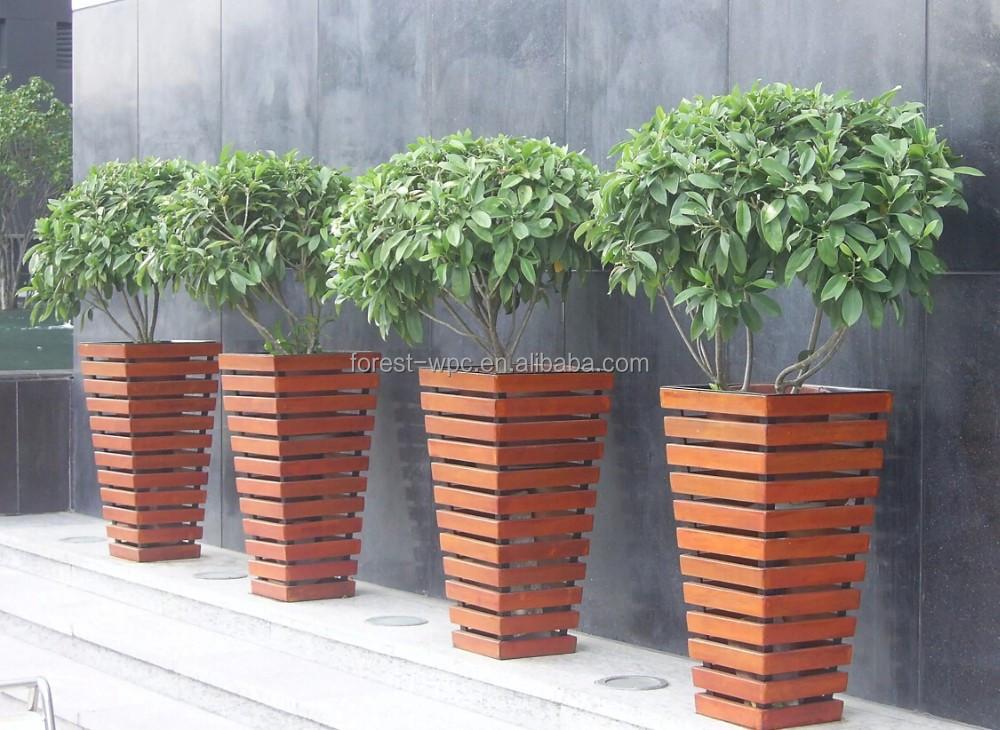 Vaso de madeira decorativa vasos de interior vasos de for Plantas de plastico para decoracion