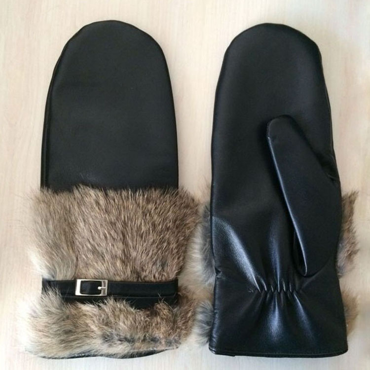 the mitten for fashion women wearing winter genuine leather