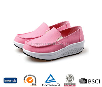 93625a807ff china hot sell payless wide width feet slip on women light pastel pink  wedge casual canvas