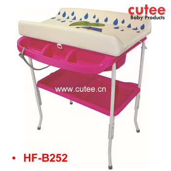 Good Quality Plastic Folding Baby Infant Diaper Changing Table And Bath Tub  Stand