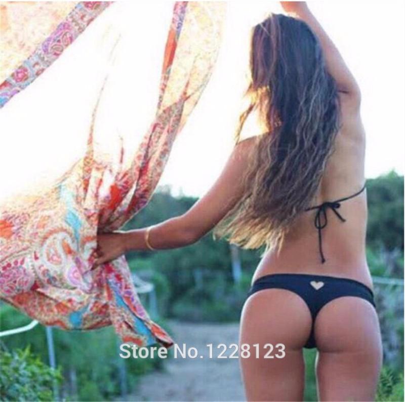 2015 Sexy Women Brazilian Bikini Swimwear Thong Love Heart Cut Out Bottom Beach  Swimwear Bikini 6