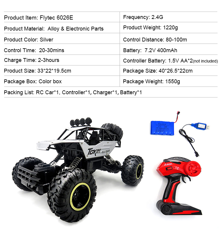 11. 6026E_Silver_2.4G_4WD_Off-Road_Buggy_Rc_Climbing_Car_Remote_Control_Alloy_Car