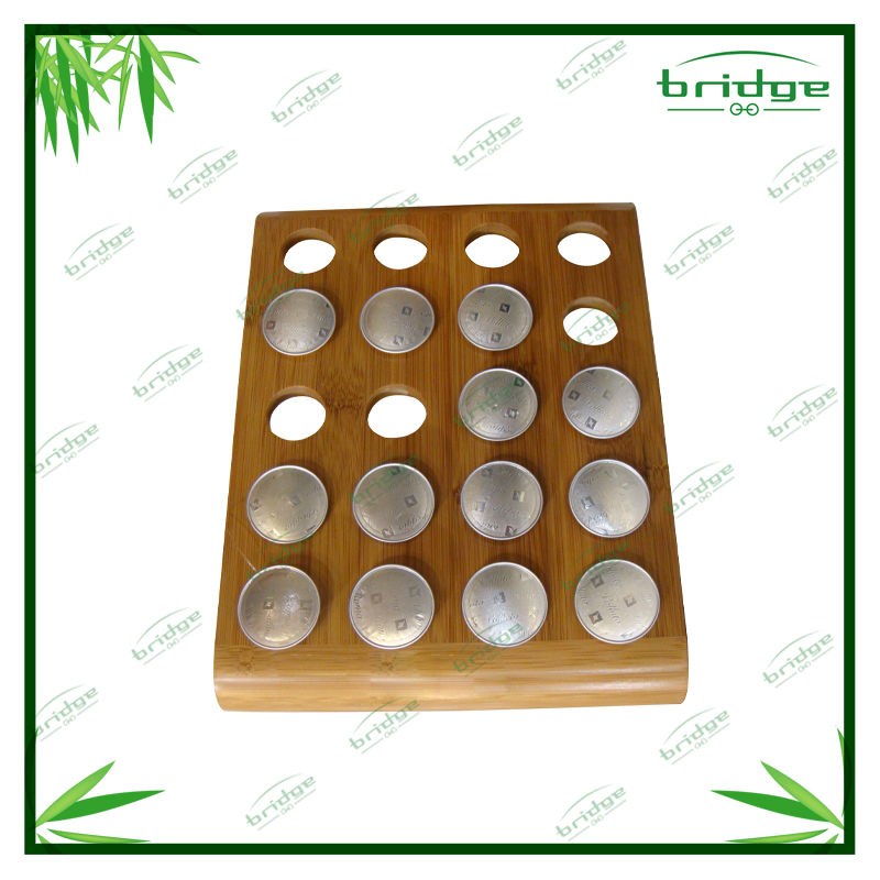 bamboo 20-pod coffee eggs tray organizer