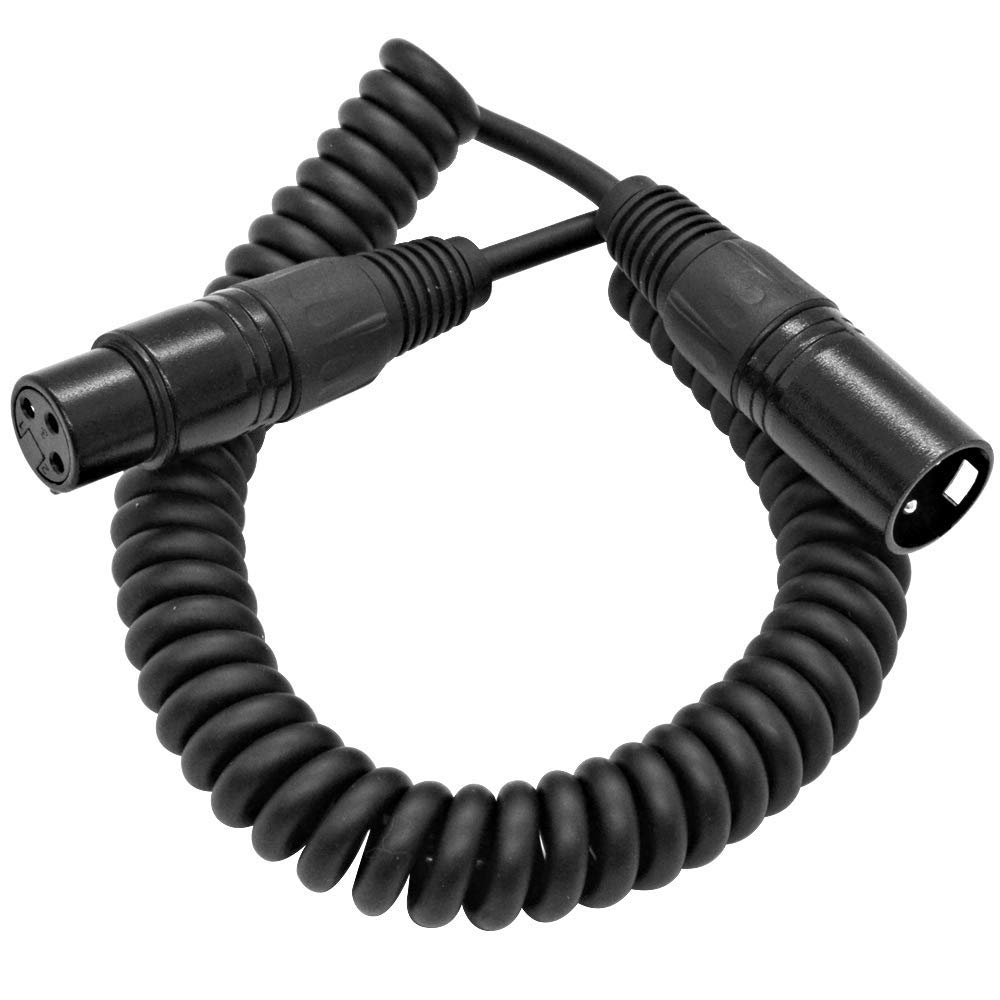 Seismic Audio - SACX-1Black - 1.5 Foot Coiled Black XLR Microphone Cable - Extends to 7.5 Feet - PA/DJ Boom Stand Mic Cord