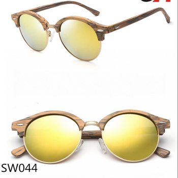 6556bf8a7f UV400 wood grain wood color fake wood half rim polar eagle acetate sunglasses  with polarized lens