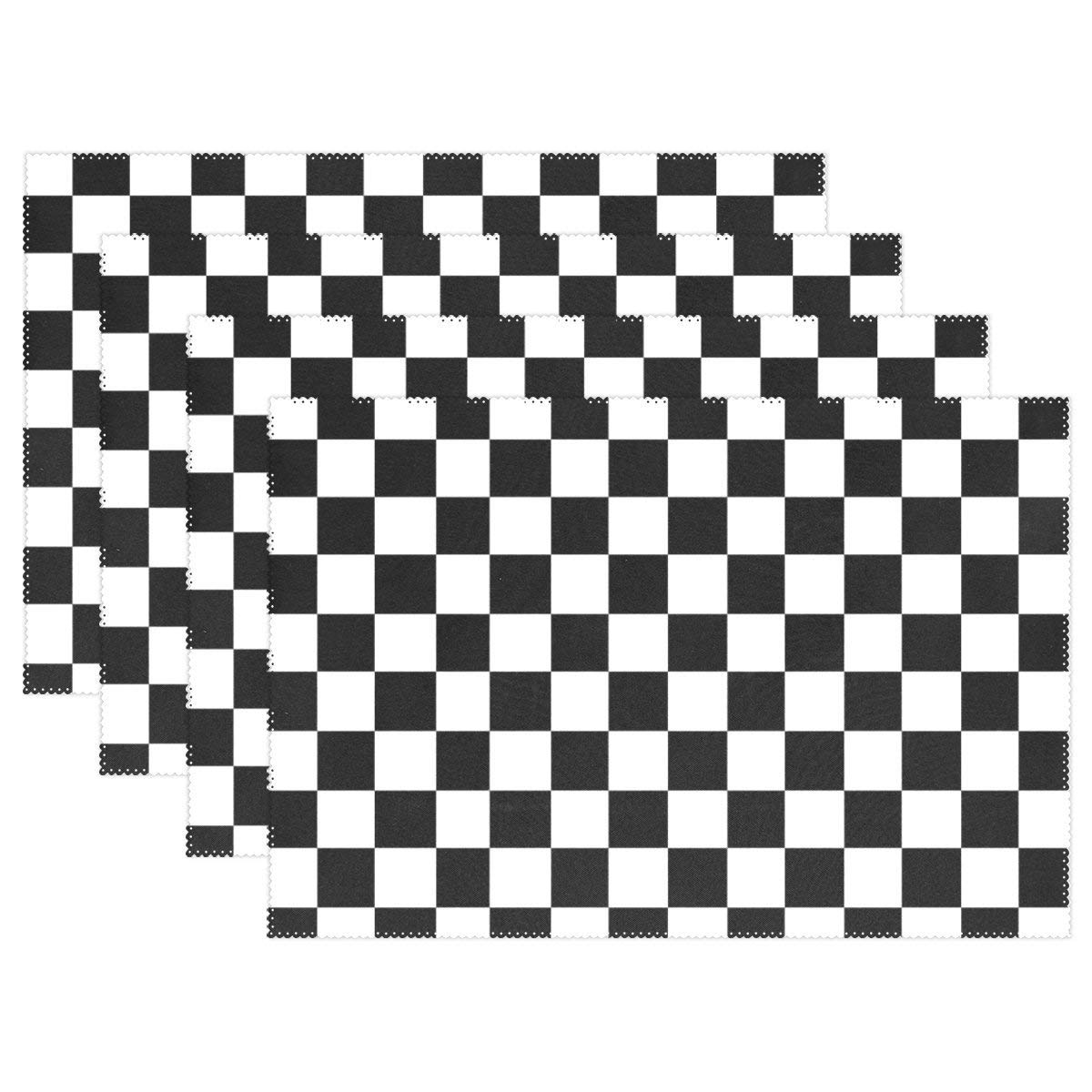 """THENAHOME Placemats Set of 6,4 or 1 Table Mats with Black White Checkerboard Heat Stain Resistant Anti-Skid Eat Mats for Kitchen Dining Table (12""""x 18"""")"""