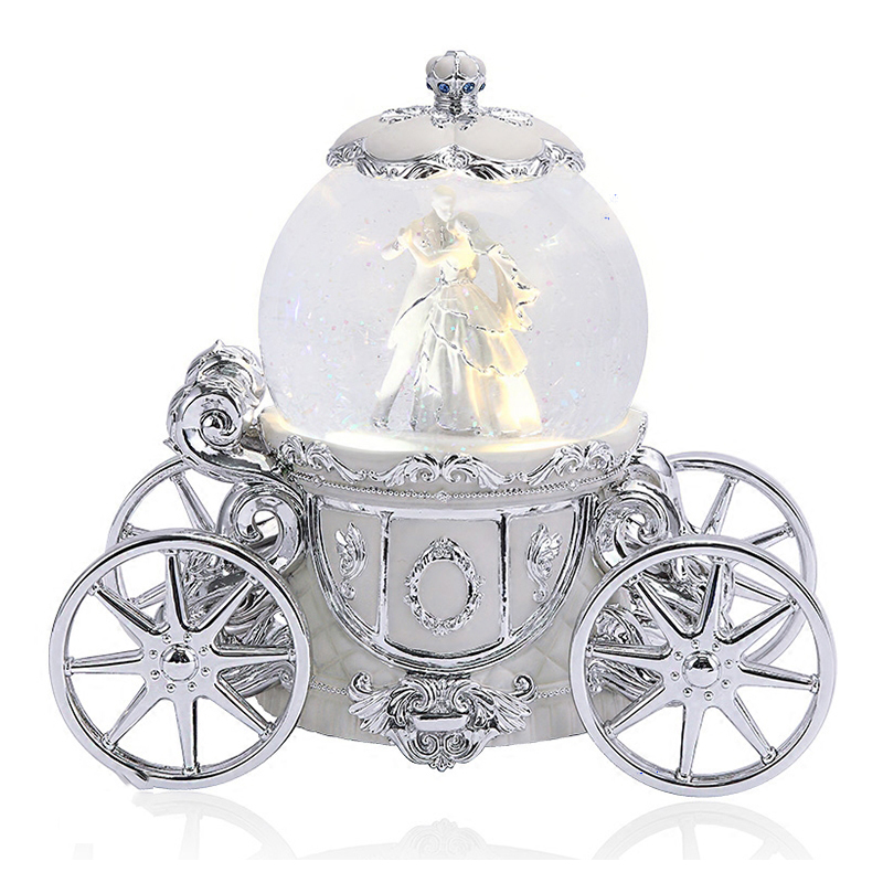Christmas Decoration Silver Dancing Snow Globe for wedding Silver Car Snow Globe for Love