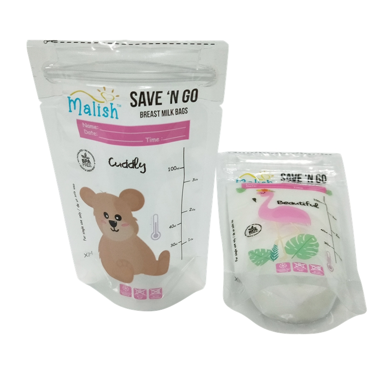 BPA free food grade sterile breast milk storage pouch liquid food packaging stand up plastic bag for keeping food fresh