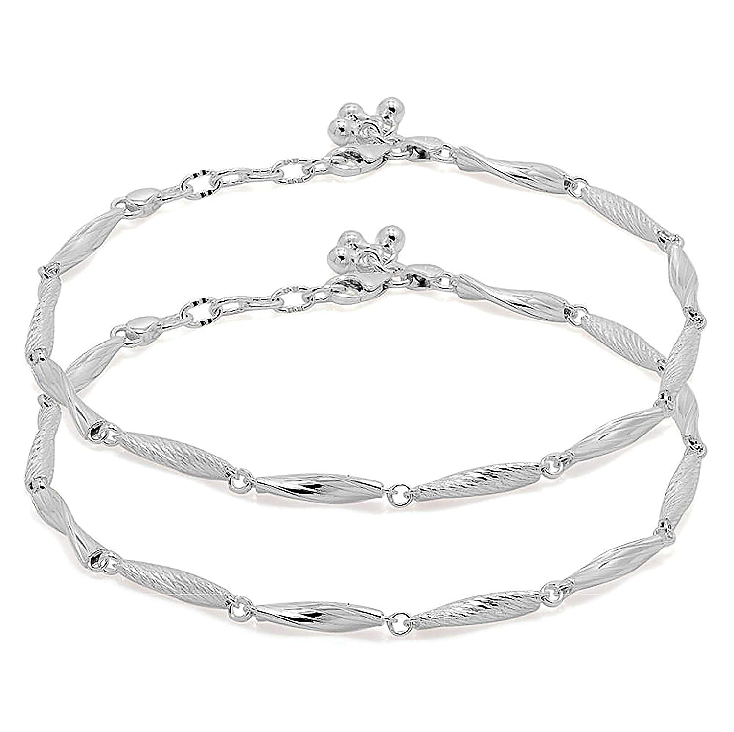 D&D Crafts Sterling Silver Anklets with Texture Design For Girls, Women
