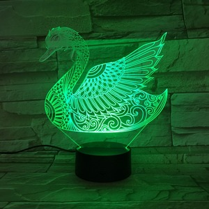led table lamp 3d swan Deco illusion lamp baby sleeping room light 7 colors changing 3d night light for home decor