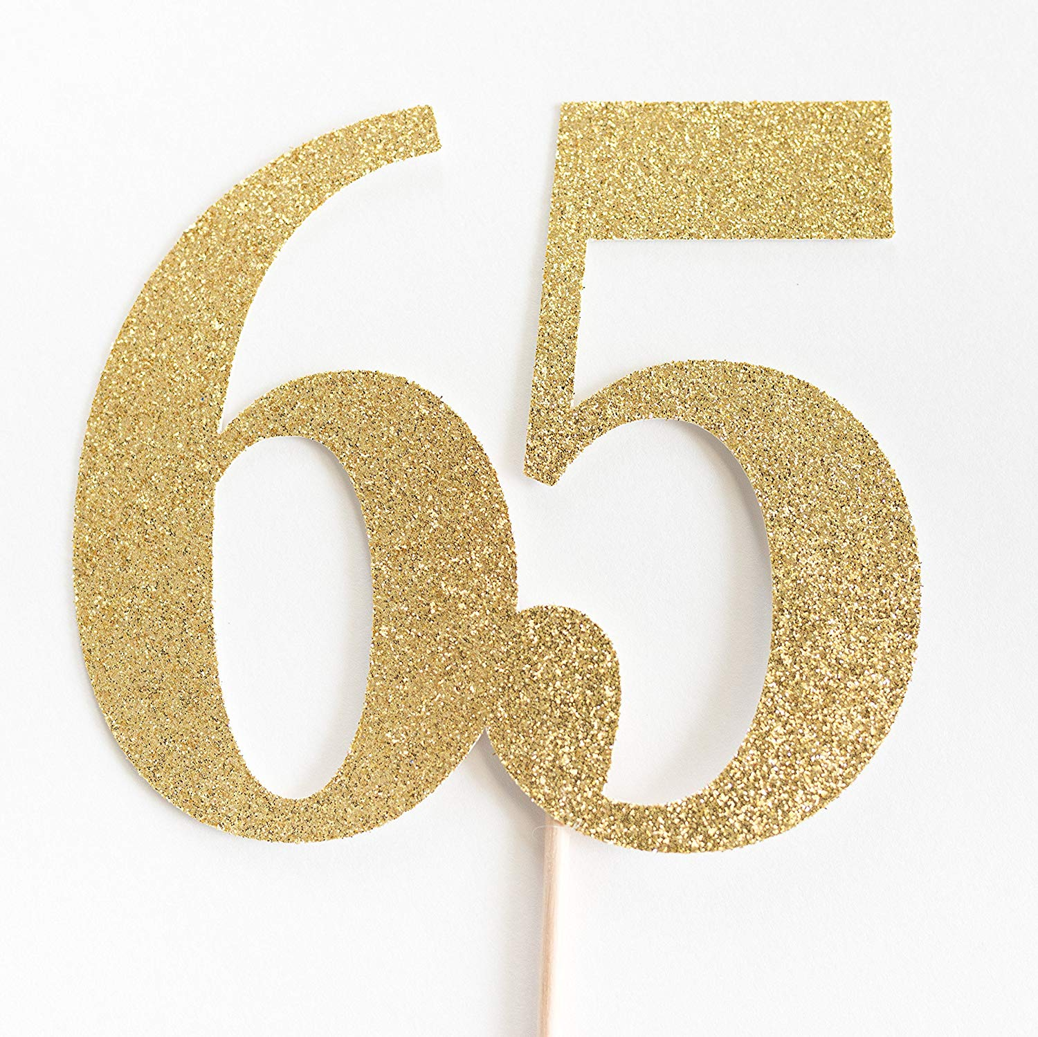 Get Quotations Gold Glitter 65 Cake Topper 65th Anniversary Sixty Fifth Birthday Five