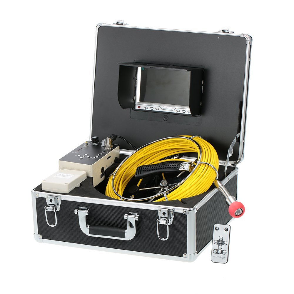 Docooler 7 LCD Monitor 960TVL CCD Pipeline Inspection Camera Waterproof Drain Pipe Sewer Inspection Camera Industrial Endoscope Baroscope Inspection System with 20m Cable
